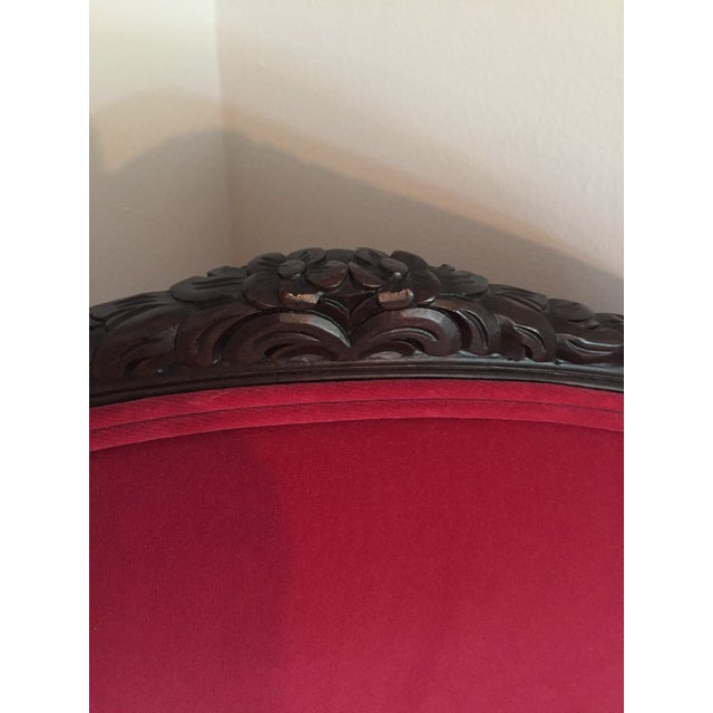 19th Century Louis XVI Red Velvet Arm Chair For Sale - Image 9 of 11