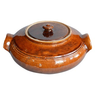 French Provincial Terra Cotta Round Lidded Tureen For Sale