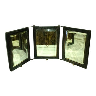Victorian Tri-Fold Beveled Leather Tooled Back Mirror