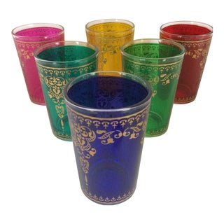 Vintage Moroccan Style Gold Embossed Drinking Glasses - Set of 6