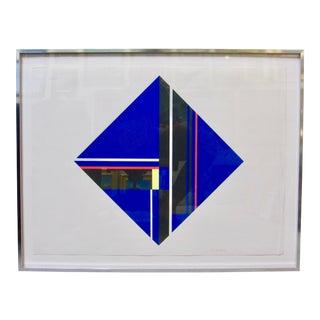 1970s Ilya Bolotowsky Blue Diamond Geometric Screen Print Serigraph Piet Mondrian Style For Sale