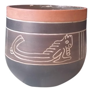 Armando De Mexico Incised Tan Planter For Sale