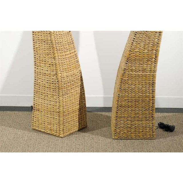 White Fantastic Pair of Giant Raffia Floor Lamps For Sale - Image 8 of 10