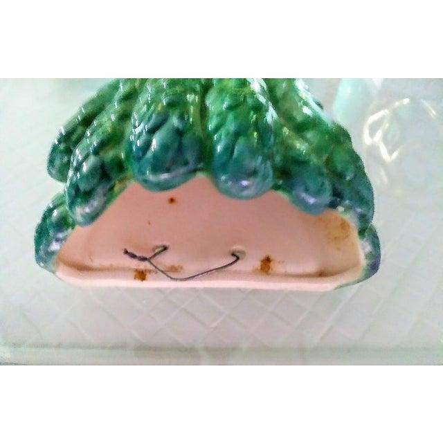 Hollywood Regency Sweet Asparagus Ceramic Wall Pocket Vase Decor For Sale - Image 3 of 5
