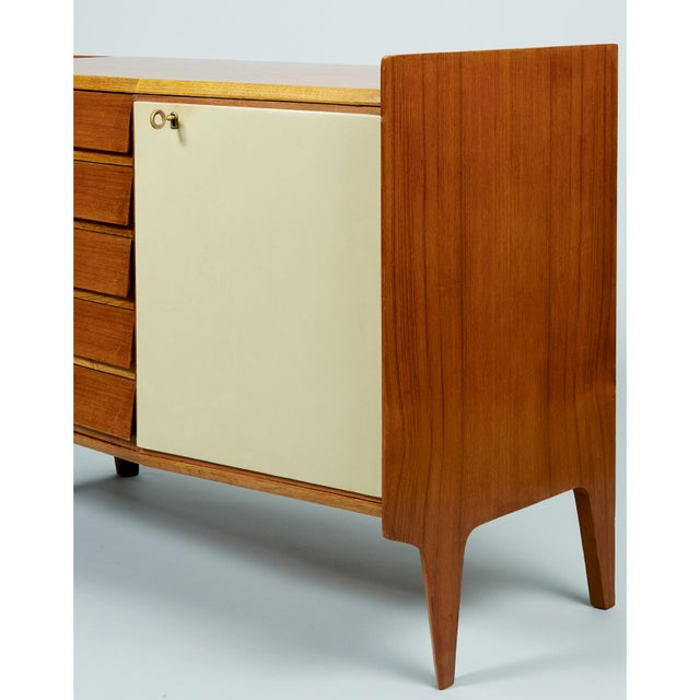 Metal Gio Ponti Exceptional Asymmetric Mahagony Cabinet For Sale - Image 7 of 10
