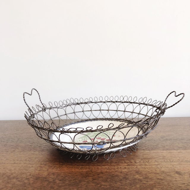 French Antique Majolica Plate in Wire Bowl For Sale - Image 3 of 8
