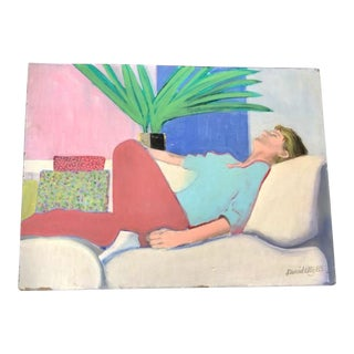 1985 Hockney Style Original Painting O/B Reclining Man Painting For Sale