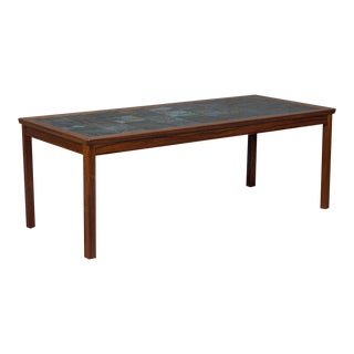 Danish Modern Rosewood & Tile Coffee Table For Sale