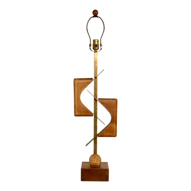 Sculptural Mid Century Lamp of Walnut, Brass, and Cork For Sale