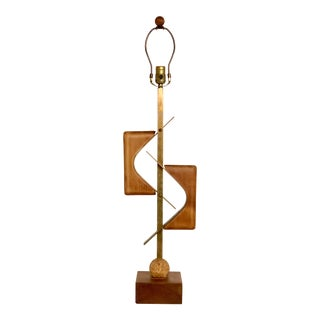 Sculptural Midcentury Lamp of Walnut, Brass, and Cork For Sale