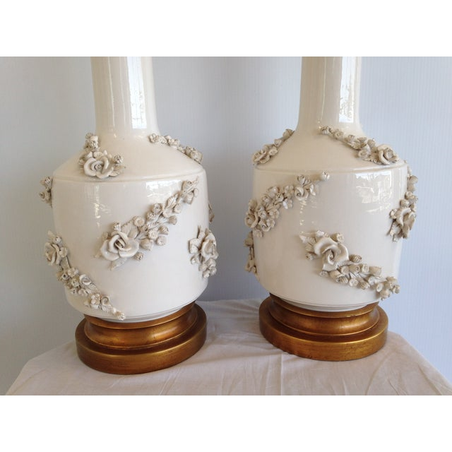Mid-Century White Porcelain Marbro Lamp - Pair - Image 7 of 8