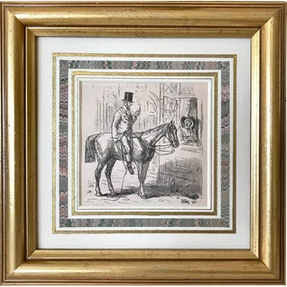 Antique Town & Country Engraving of Man on Horse For Sale