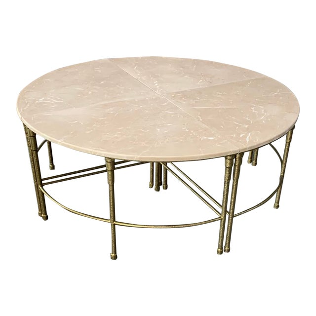 "Contemporary Mercer Round Marble Coffee Table by Gabby-Touch of Pink"" For Sale"