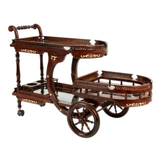 Mid-20th Century Mahogany Inlaid Top Bar Cart For Sale
