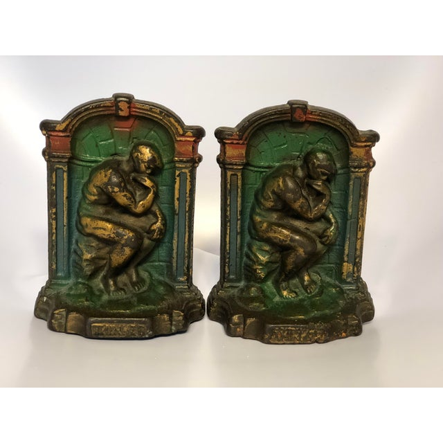 "1920's Art Deco Cast Metal ""The Thinker"" Bookends - a Pair For Sale - Image 4 of 7"
