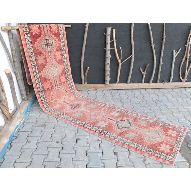 """1950's Vintage Turkish Hand-Knotted Hallway Runner Rug - 2'6"""" X 12'9"""" For Sale - Image 9 of 11"""