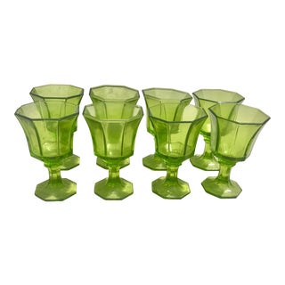 Mid-Century Modern Green Cordial Glasses - Set of 8 For Sale