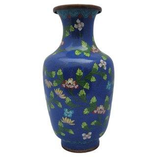Antique 1930s Cobalt Blue Floral Lotus Flower Cloisonne Vase For Sale