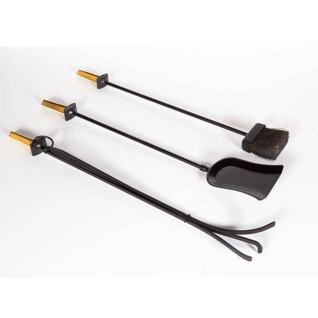 Mid-century modern fireplace tool set by iconic 20th century designer Donald Deskey, for the Bennett Company. The set...