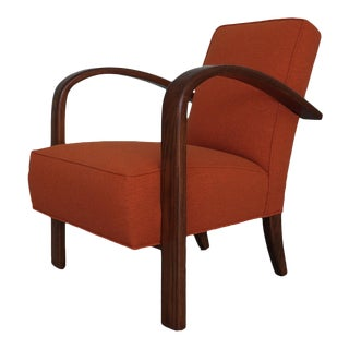 1980s Mid-Century Modern Orange Upholstered Lounge Chair For Sale