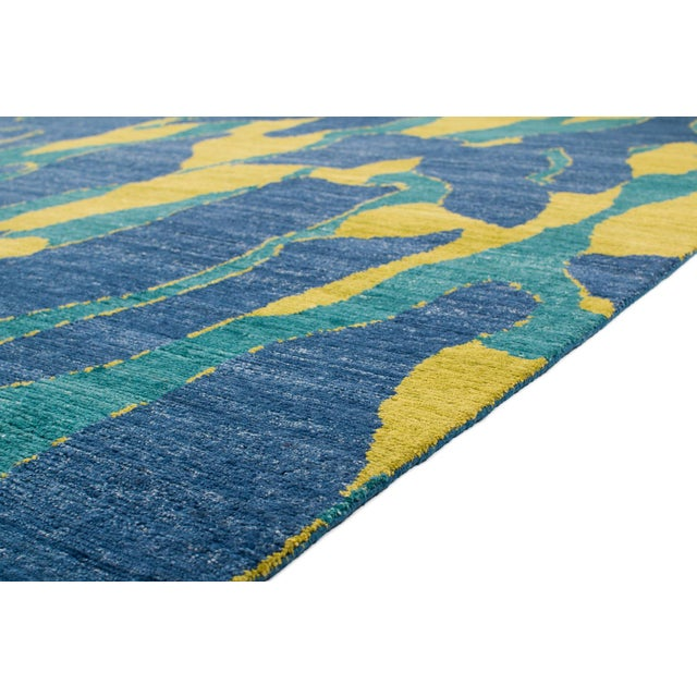 Contemporary Carini Blue and Chartreuse Camouflage Print Area Rug - 8′ × 10′ For Sale - Image 3 of 7