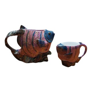 Fabulous Tropical Fish Water Pitcher and Cup Glazed Ceramic For Sale
