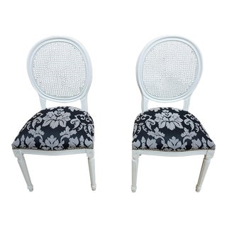 Pair of Vintage French Louis XVI Newly Upholstered Cane Back White Accent Chairs For Sale