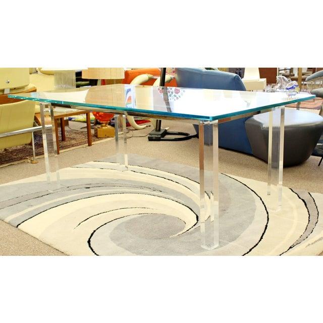 Mid-Century Modern 1970s Mid-Century Modern Hollis Jones Glass & Lucite Chrome Dining Table For Sale - Image 3 of 10