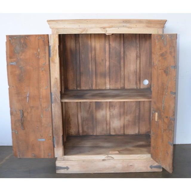 Mediterranean Antique Old Door Indian Cabinet For Sale - Image 3 of 8