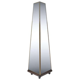 Bronze & Glass Maison Jansen Style Pyramid Tall Triple Dressing Floor Mirror For Sale