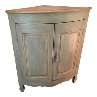 18th Century French Painted Corner Cabinet For Sale