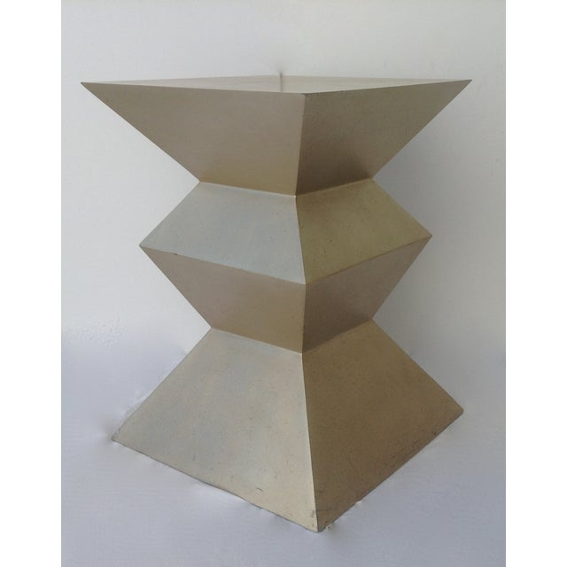 1970s Sirmos Silver-Leaf Cubist Dining Table Base For Sale - Image 5 of 11