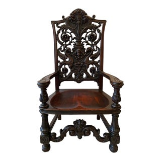 1880s Carved Mahogany Chair With Floral Design For Sale