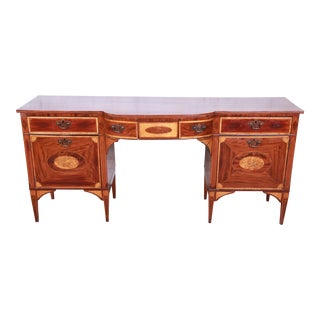 Antique English Sheraton Inlaid Mahogany Bow Front Sideboard C.1820 For Sale