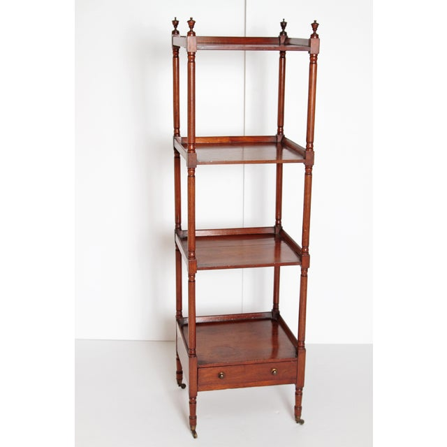 George III Four-Tier Mahogany Whatnot With Drawer For Sale - Image 11 of 13
