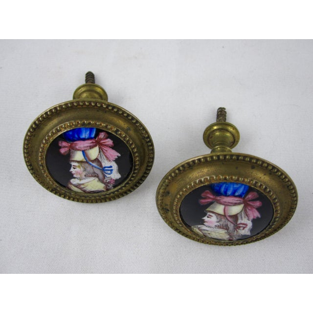 Brass 18th Century English Battersea Enamel Curtain Tiebacks- A Pair For Sale - Image 7 of 9