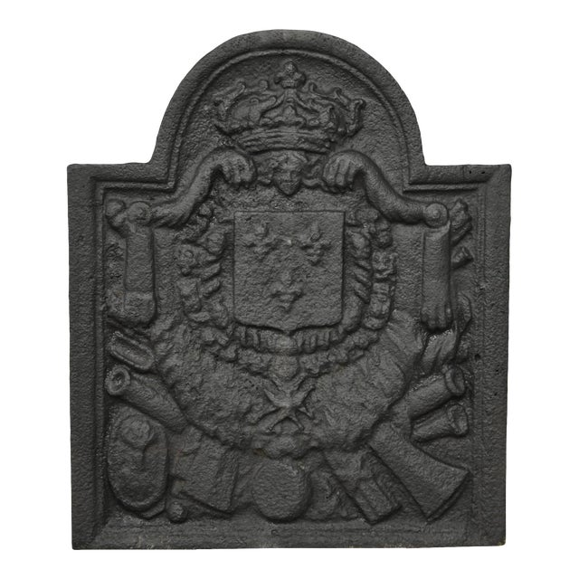 Antique 18th Century Cast Iron French Fireback For Sale
