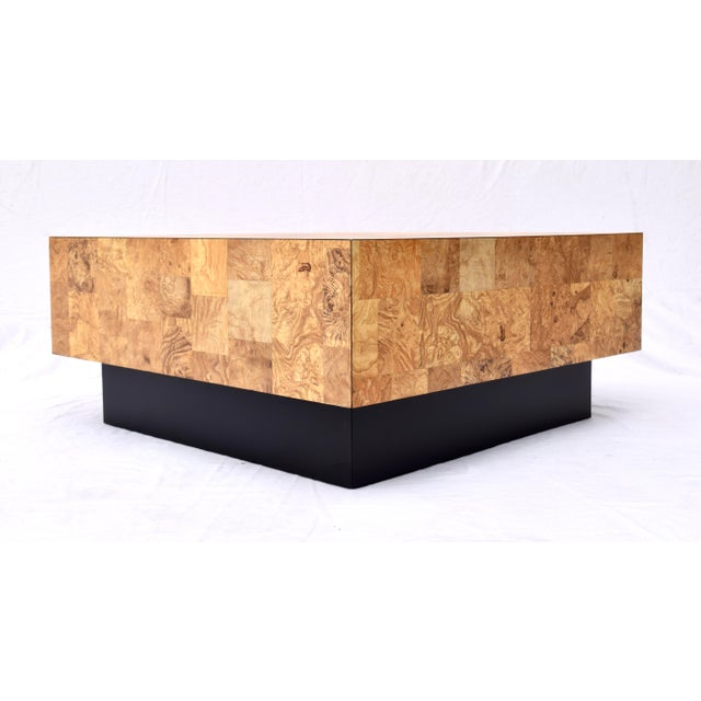 Modern 1970's Floating Faux Burl Olive Coffee Table in the Manner of Milo Baughman For Sale - Image 3 of 9
