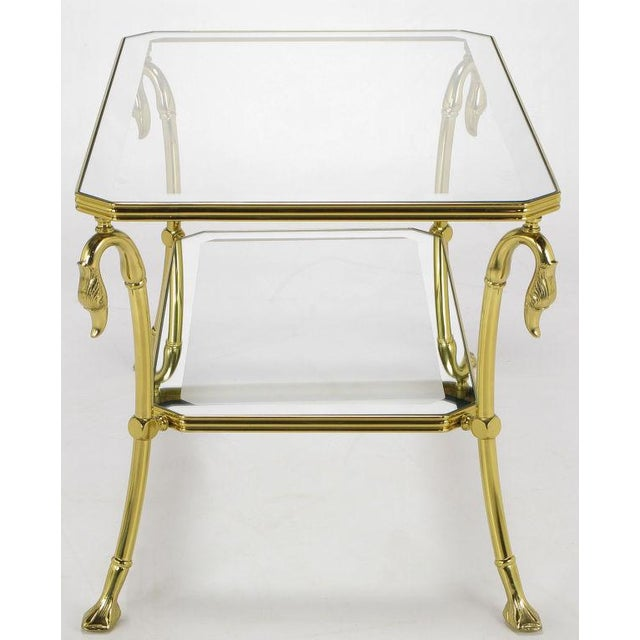 Hollywood Regency Brass Two-Tier End Table With Swan & Webbed Foot Detail For Sale - Image 3 of 6