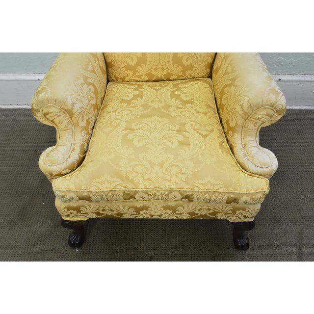 Yellow Georgian Style Custom Carved Mahogany Paw Foot Lounge Chair Bergere For Sale - Image 8 of 12