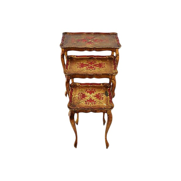 1950s Italian Venetian Florentine Nesting Tables - Set of Three For Sale