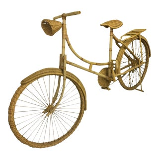 Vintage Boho Chic Wicker Bike Decorative Sculpture For Sale
