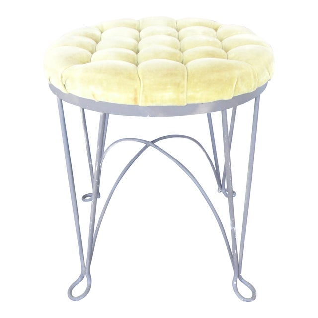 1960s Hollywood Regency Yellow Metal Wire Frame Vanity Stool For Sale