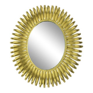 Spanish Citron Yellow Oval Curled Leaf Eyelash Mirror For Sale