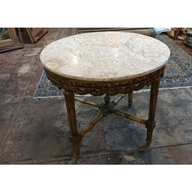 19th century Louis XV Carved Gilt & Marble top coffee table A beautiful piece that will add to your décor!