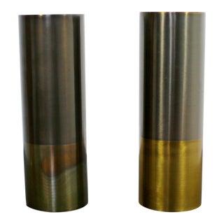 1980s Contemporary Modern Gold Gilt Metal Candlesticks Signed Michael Aram - a Pair For Sale