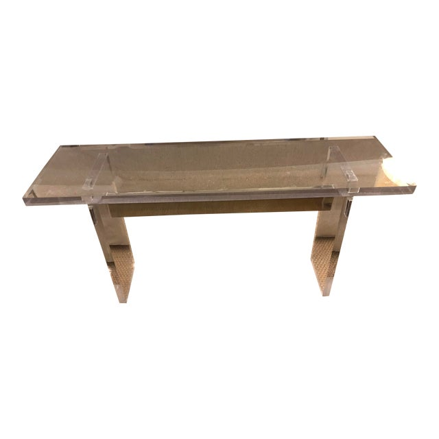 Acrylic Console Table With Metal Beam For Sale