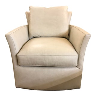Century Furninture White Leather Trent Swivel Chair For Sale