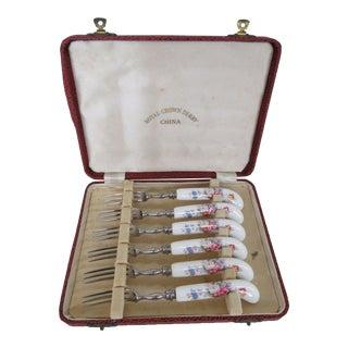 Royal Crown Derby Vintage China Box Set of Six Fruit Dessert Forks For Sale