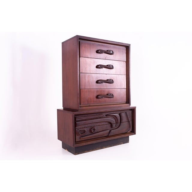 Mid Century Witco Style Oceanic Brutalist 6 Drawer Gentlemans Chest For Sale - Image 11 of 11